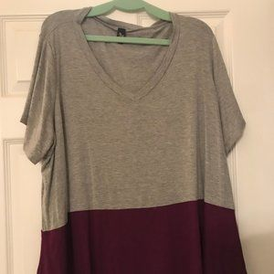 Modcloth Grey & Purple Colorblock Blouse